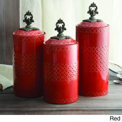 Red Canister Set For Kitchen White Sink Undermount Storage Canisters Of 3 Overstock Shopping