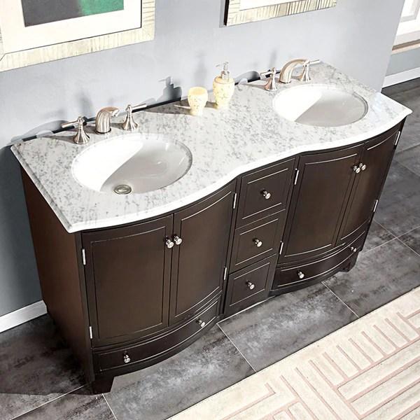 silkroad exclusive 60-inch carrara white marble bathroom vanity