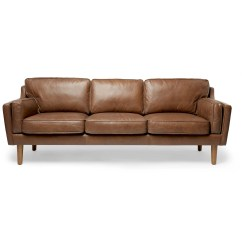Darrin Leather Sofa Reviews Design Your Own Sectional Beatnik Oxford Tan Decorist
