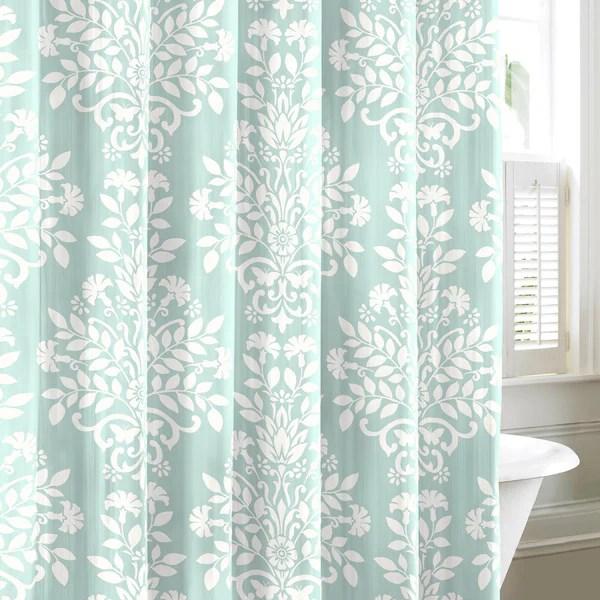 Shop Laura Ashley Rowland Blue Cotton Shower Curtain