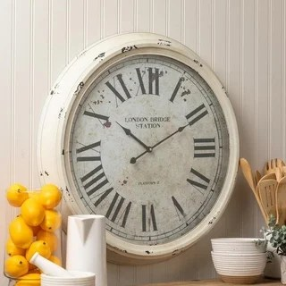 rustic kitchen clock farm sinks for kitchens buy clocks online at overstock com our best francesco oversized 24 5 metal white wall