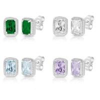 Shop Sterling Silver Emerald-cut Colored Cubic Zirconia ...