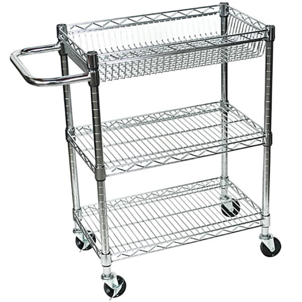Shop Rolling Small 3 Shelf Wire Tub Heavy Duty Transport