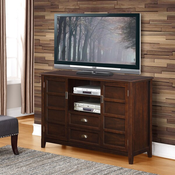 WYNDENHALL Portland Collection Espresso Brown Tall TV Stand  15535746  Overstockcom Shopping