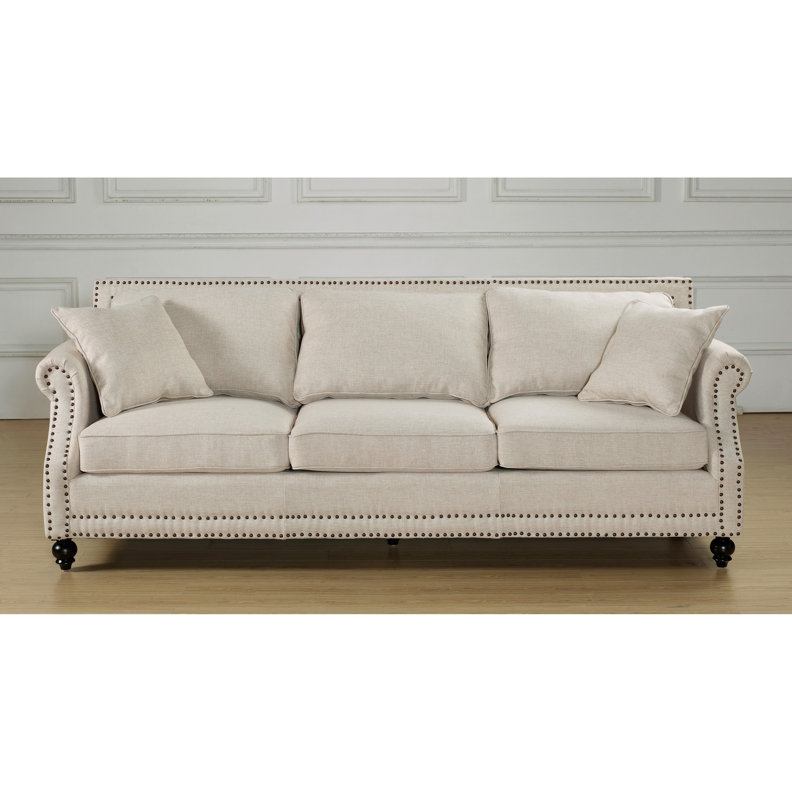 overstock sofa small white leather bed camden beige linen shopping great deals