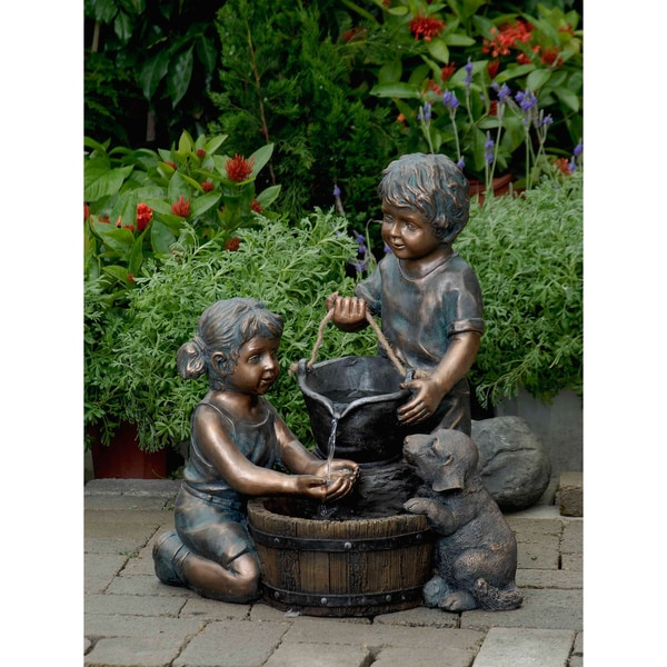 Shop Two Kids and Dog Outdoor Indoor Water Fountain