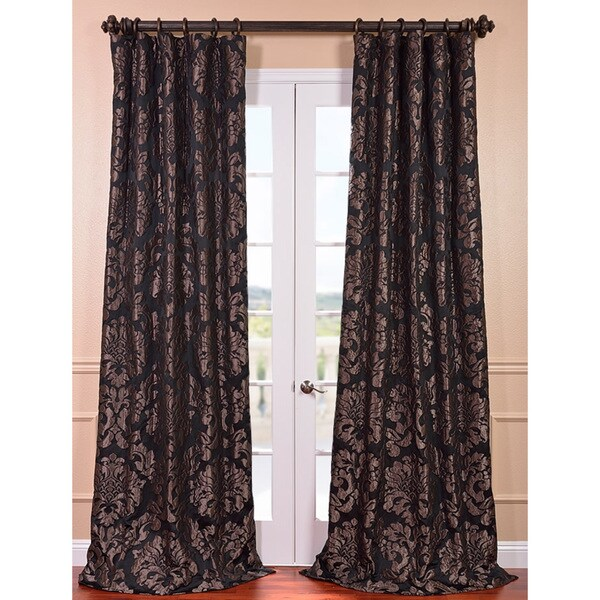 Exclusive Fabrics Astoria Black/ Pewter Faux Silk Jacquard Curtain Panel