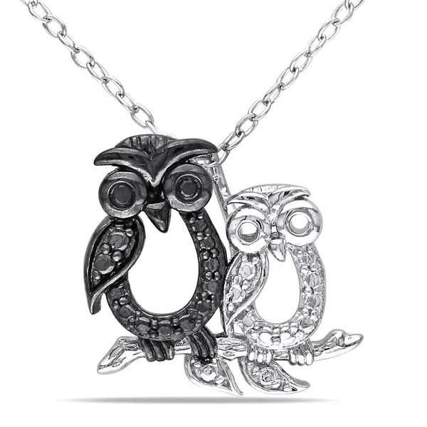 Shop Miadora Sterling Silver Black Diamond Owl Necklace