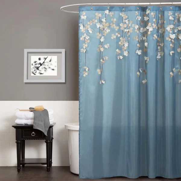 Shop Lush Decor Flower Drops Federal Blue White Shower Curtain On Sale Free Shipping On