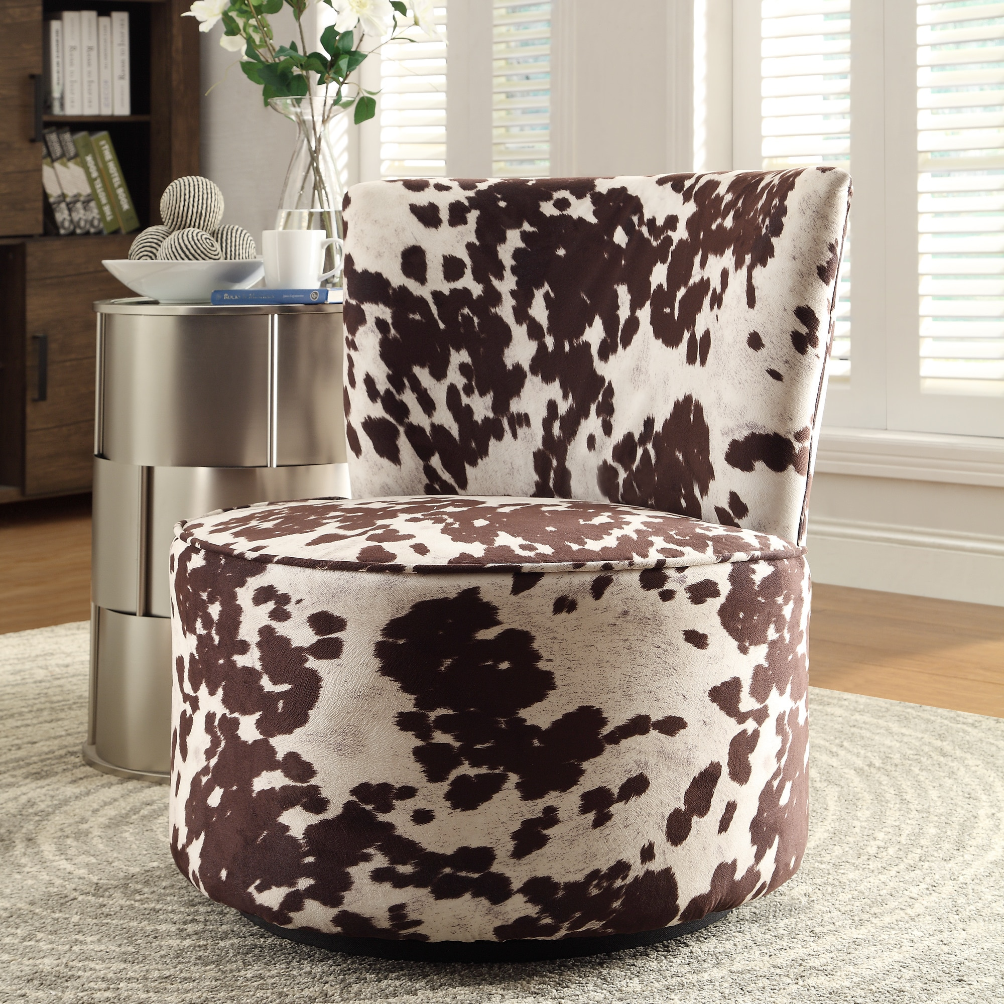 Cow Print Chair Inspire Q Damen Cow Hide Print Modern Round Swivel Chair