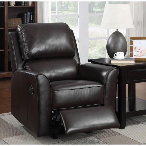 Shop Piper Brown Italian Leather Rocker Recliner Chair