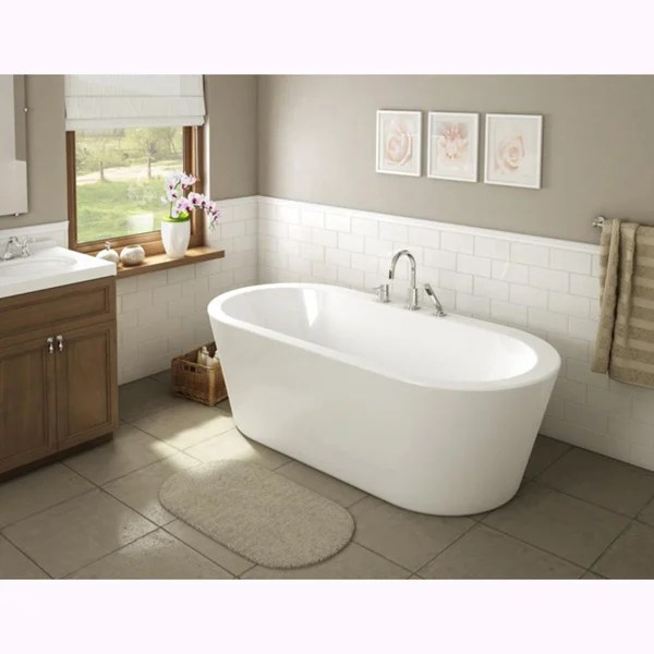 Shop Una Pure Acrylic 71 Inch All In One Oval Freestanding Tub Kit Free Shipping Today