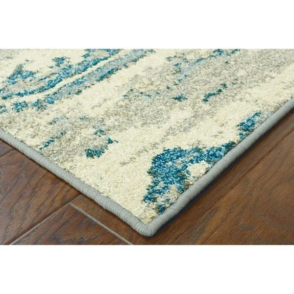 Distressed Floral Ivory Blue Rug 99 X 122 Free