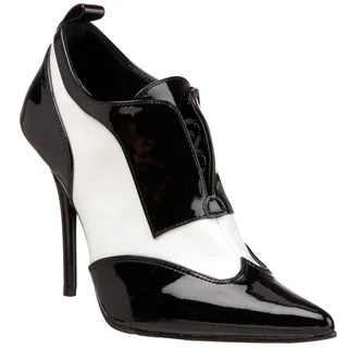 Pleaser Womens Milan60 Black White Patent Leather
