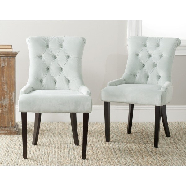 Shop Safavieh En Vogue Dining Bowie Light Blue Dining Chairs Set of 2  Free Shipping Today