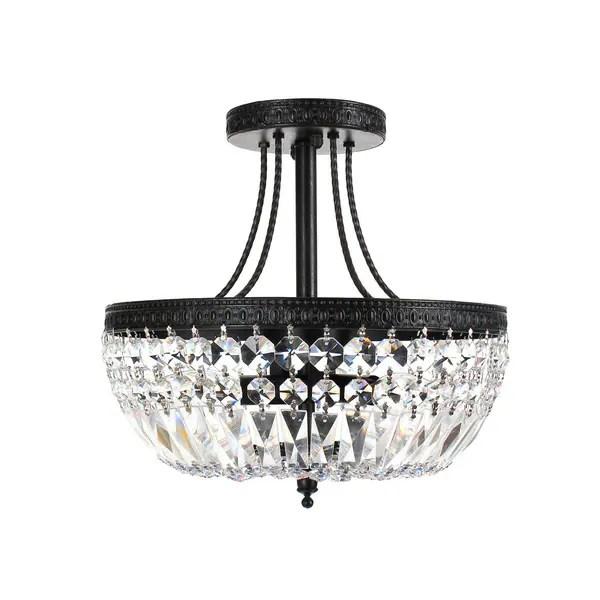 Shop Jessica Crystal/Antique Black Basket 3-light Flush