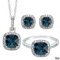 Dolce Giavonna Sterling Silver London Blue Topaz Earring ...