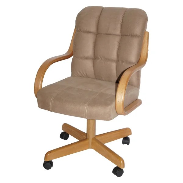 Brown upholstered Casual Rolling Dining Chair Room Modern