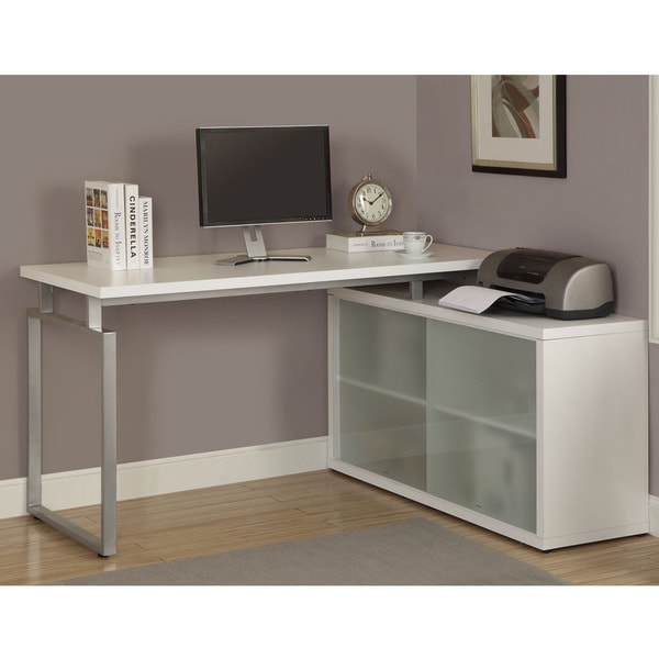 Shop White LShaped Desk with Frosted Glass  Free