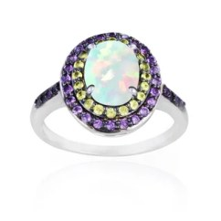 Christopher Knight Club Chair Swings Bedroom Shop Glitzy Rocks Sterling Silver Opal, Peridot And Amethyst Oval Ring - Free Shipping Today ...