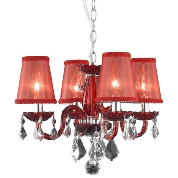 Somette 4 Light Red Chandelier With Crystals And Shades
