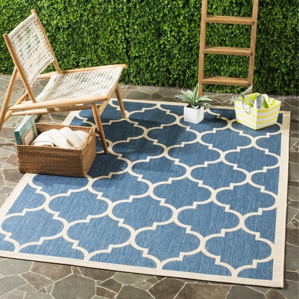 Wayfair Outdoor Teppich Shop Safavieh Courtyard Moroccan Pattern Blue/ Beige