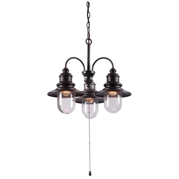 Design Craft Visp Blackened Oil Rubbed Bronze 3 Light Outdoor Chandelier