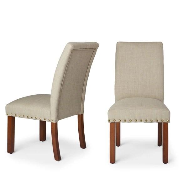 parsons chairs zoo wheelchair shop homepop linen tan nail head set of 2 on sale