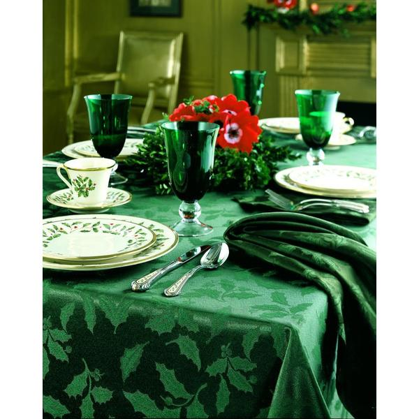 lenox christmas chair covers school back shop holly damask green tablecloth free shipping on orders over 45 overstock com 8397662