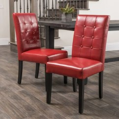 Christopher Knight Leather Chair Black Restaurant Chairs Shop Roland Red Bonded Dining By Home (set Of 2) - Free ...