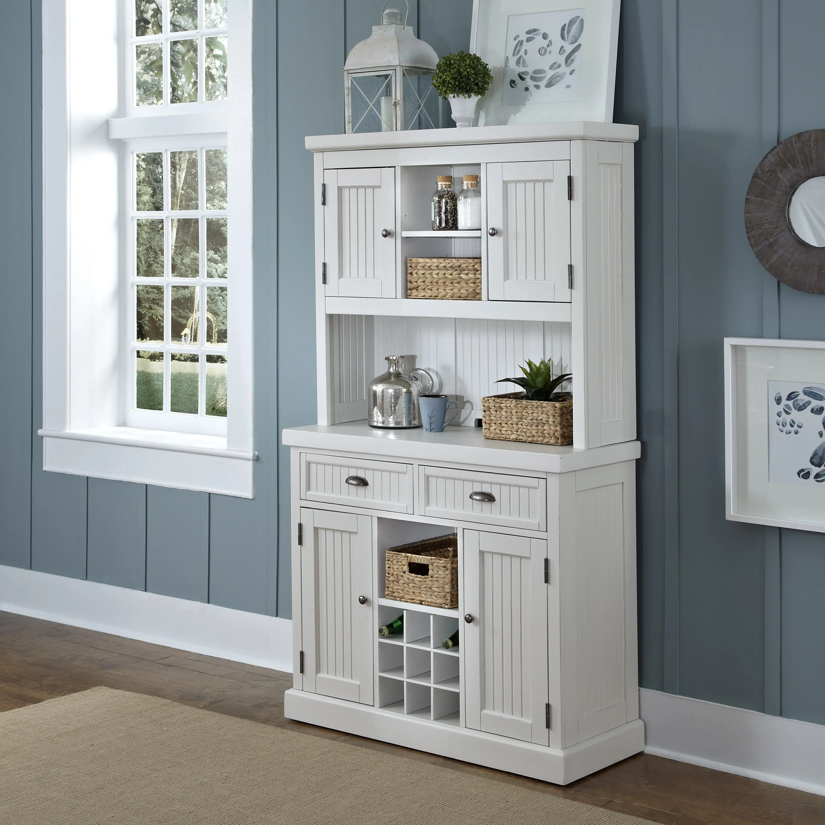 nantucket distressed buffet and hutch by home styles