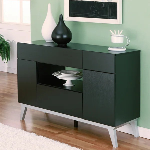 Furniture of America Miura Modern Multistorage Black Buffet Table  15726326  Overstockcom