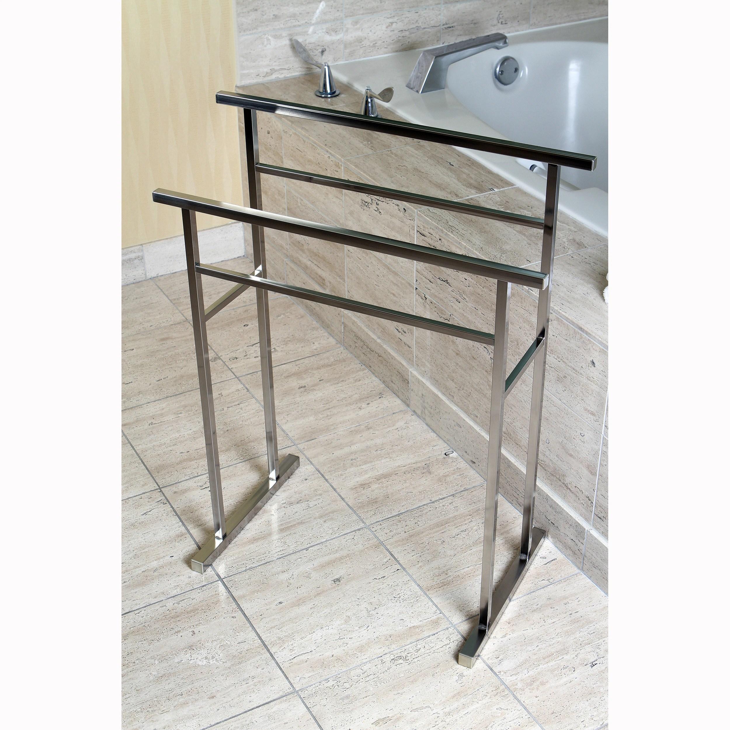 european pedestal brushed nickel bath towel rack grey