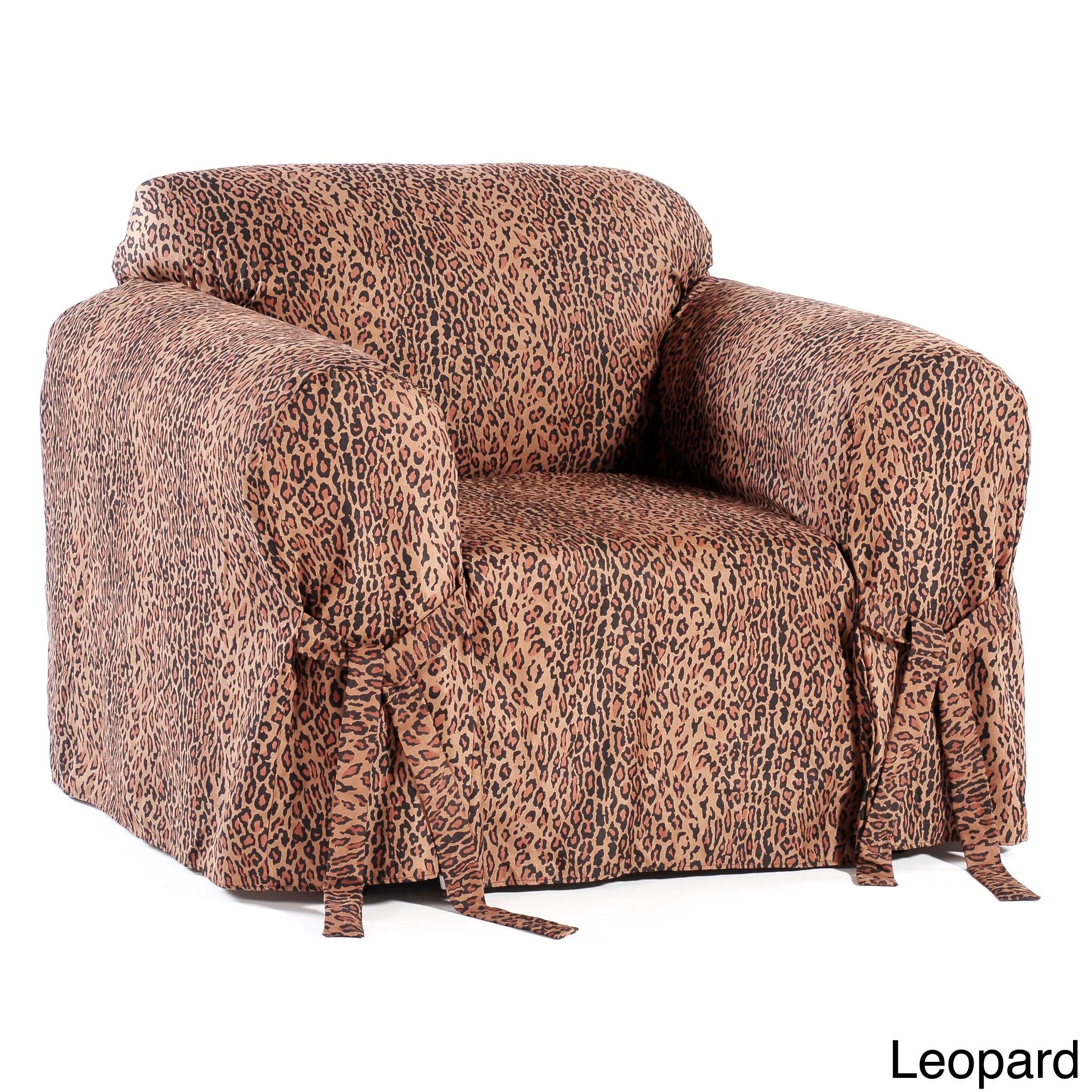 chair covers overstock lifetime adirondack sam s club microsuede animal print slipcover