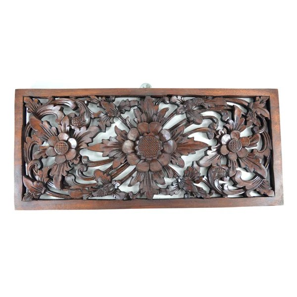 Shop Rectangular Floral Wood Carved Hanging Wall Decor
