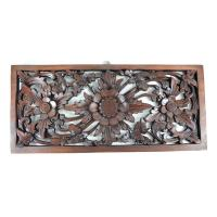 Shop Rectangular Floral Wood Carved Hanging Wall Decor