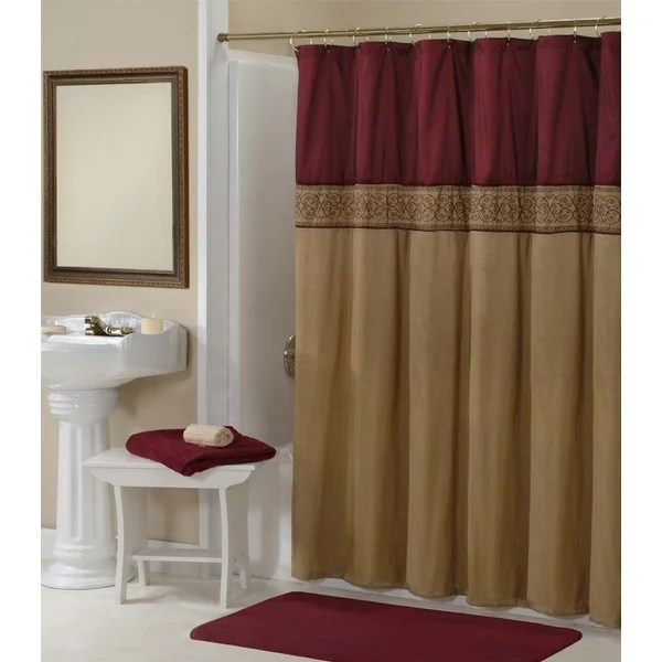 Addison Gold Maroon Shower Curtain 15743831 Shopping Great Deals On Shower