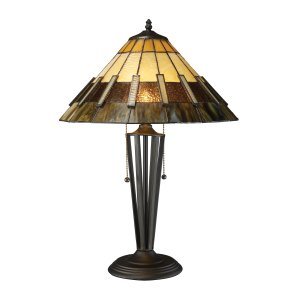 Porterdale 2-Light Tiffany Style Bronze Table Lamp