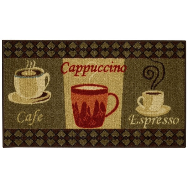 coffee rugs for kitchen peerless faucet shop cafe cappuccino espresso non skid 18 x 30 mat rubber back rug red 1 6 2 free shipping on orders over 45 overstock com