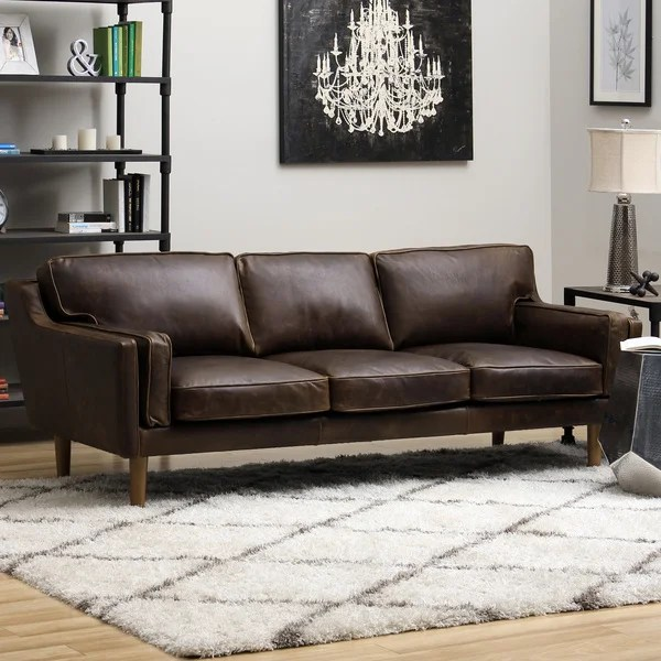 Good Beatnik Leather Sofa Columbus Chocolate Free Shipping Today