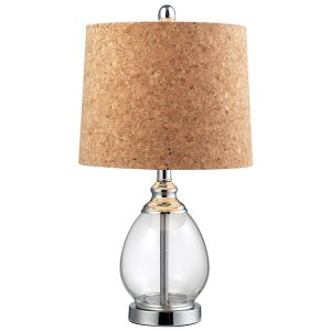 Cork Shade 1-light Clear Glass Table Lamp