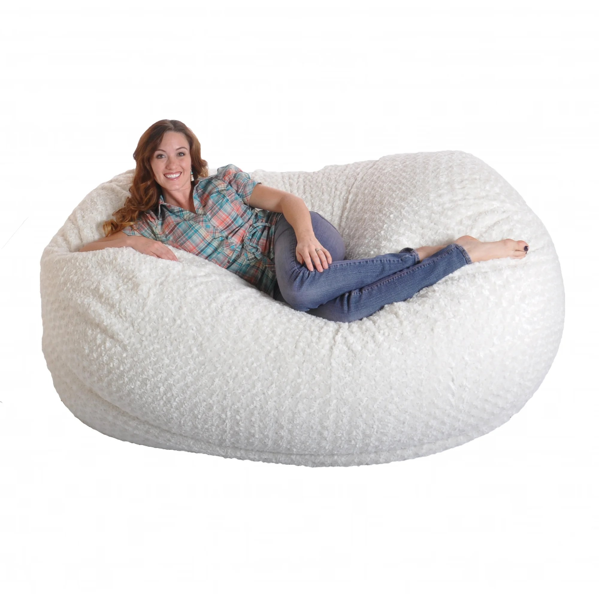 Foam Bean Bag Chair 6 Foot Soft White Fur Large Oval Microfiber Memory Foam