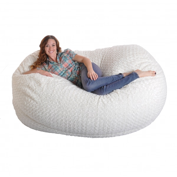 memory foam bean bag chair reviews couch rocking shop 6-foot soft white fur large oval microfiber - free shipping ...