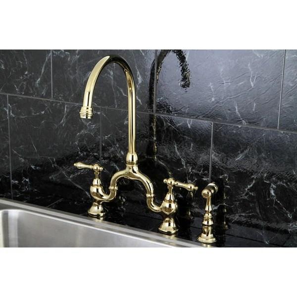 kingston brass kitchen faucet restaurant double swing doors shop vintage high-spout polished bridge ...
