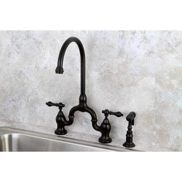 kitchen side sprayer omega cabinets shop vintage high spout oil rubbed bronze bridge faucet with free shipping today overstock com 8504152