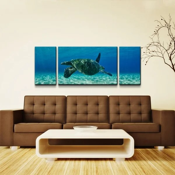 Chris Doherty Maui Turtle Drifter 3 Piece Oversized Canvas Wall Art Free Shipping Today