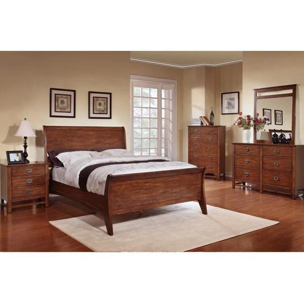 oak sleigh bedroom sets Shop Sunny Honey Oak Sleigh Bed 5-piece Bedroom Set - Free