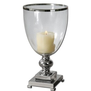 Uttermost 'Lino' Nickel Plated Clear Glass Candleholder