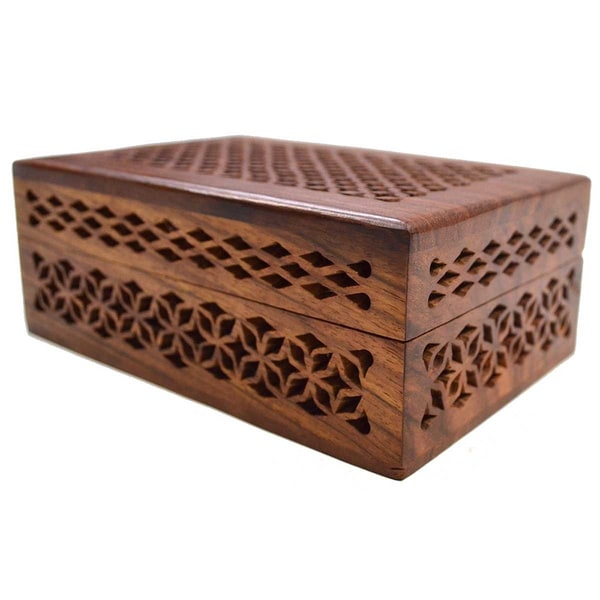 ... Handles Hand Tooled Leather and Mohena Wood Artisan Jewelry Box (Peru