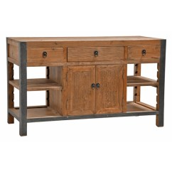 60 Kitchen Island Dark Walnut Cabinets Shop Willow Reclaimed Wood And Iron Inch By Kosas Home